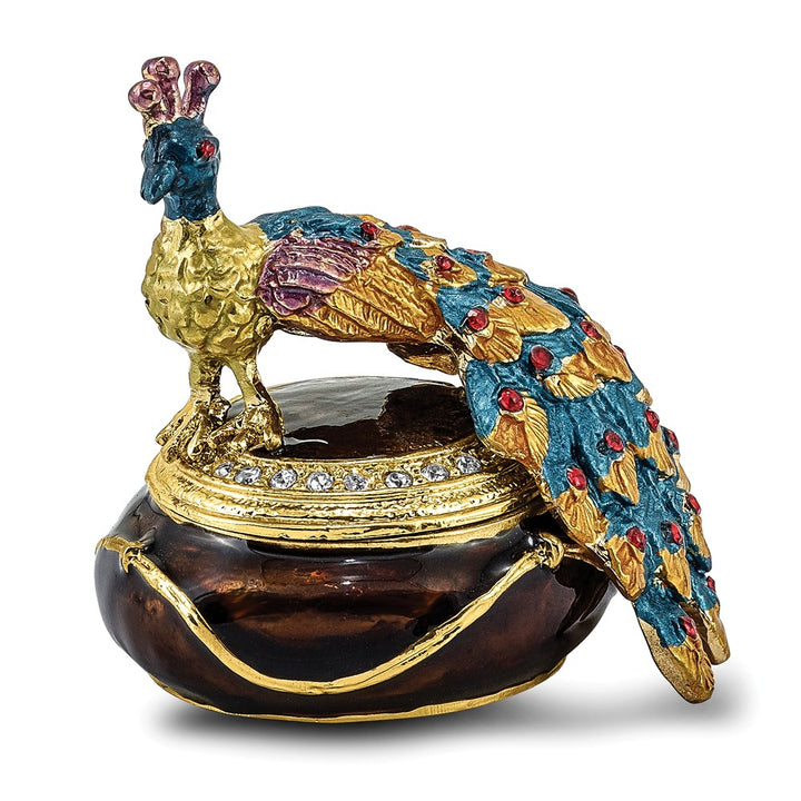Bejeweled Peacock Atop Trinket Box with Charm Pendant