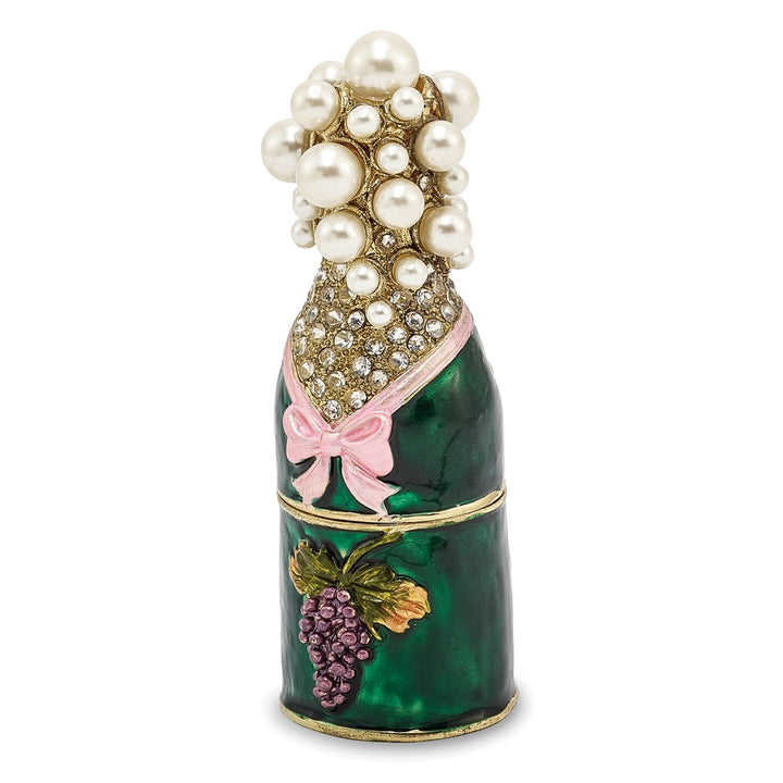 Bejeweled Champagne Bottle Trinket Box with Charm Pendant