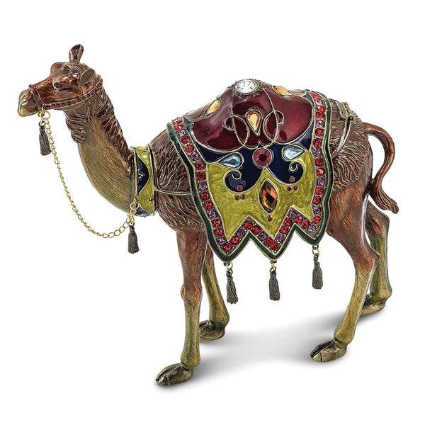 Bejeweled Large Desert Camel Trinket Box with Charm Pendant