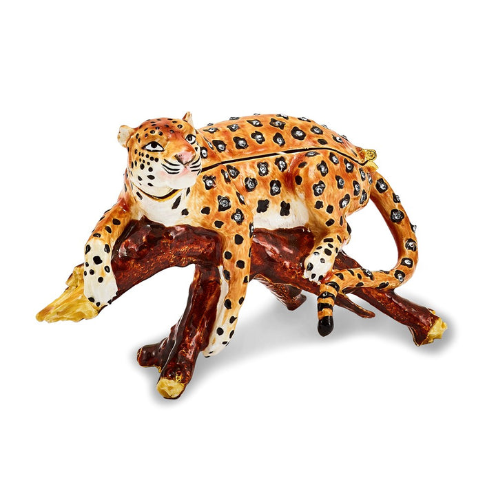 Bejeweled Leopard in Tree Trinket Box with Charm Pendant