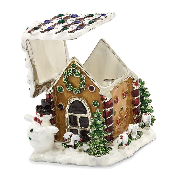 Bejeweled Gingerbread House Trinket Box with Charm Pendant
