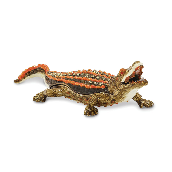 Bejeweled Green Alligator Trinket Box with Charm Pendant