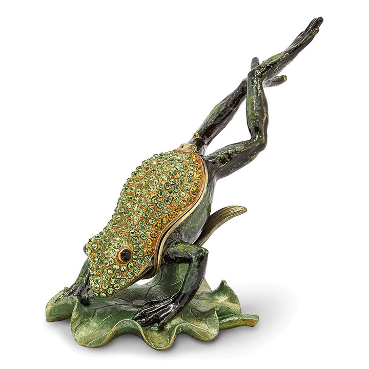 Bejeweled Diving Frog Trinket Box with Charm Pendant