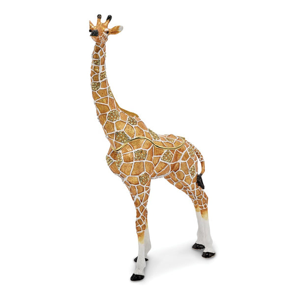 Bejeweled Large Giraffe Trinket Box with Charm Pendant