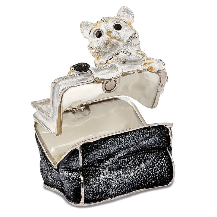 Bejeweled Miss Kitty in Purse Trinket Box with Charm Pendant