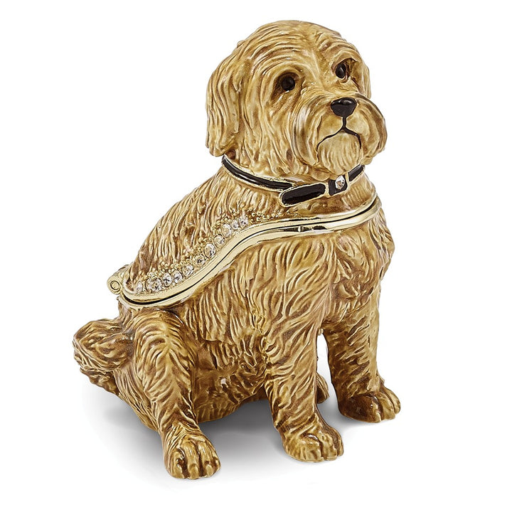 Bejeweled Wheaten Terrier Dog Trinket Box with Charm Pendant