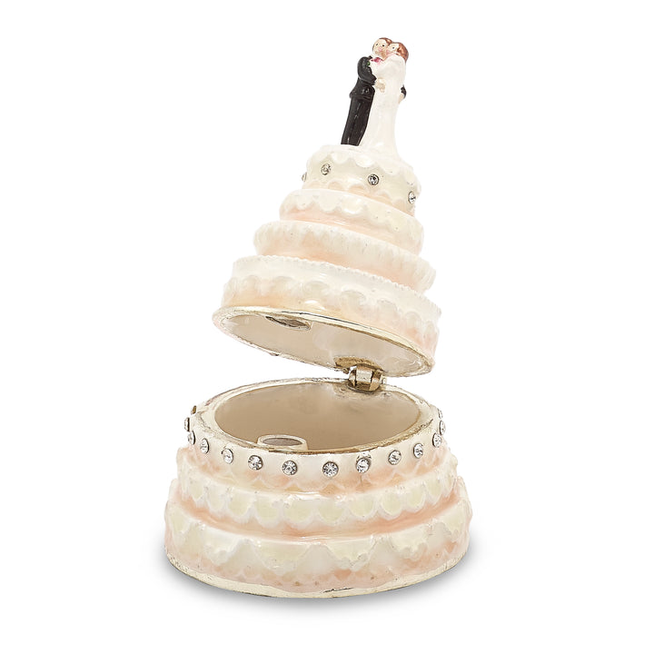 Bejeweled I Do Wedding Cake Trinket Box with Charm Pendant