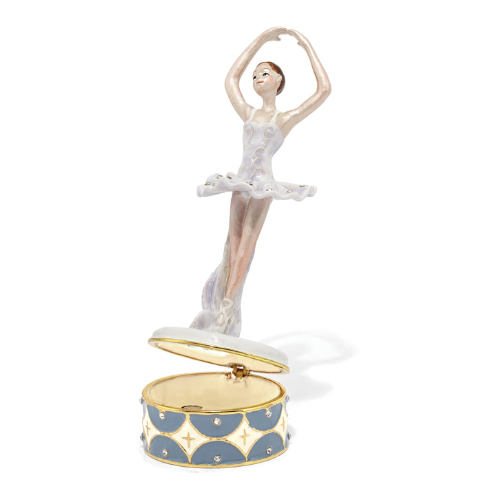 Bejeweled Ballerina Trinket Box with Charm Pendant