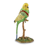 Bejeweled Large Parrot On Branch Trinket Box with Charm Pendant