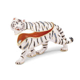 Bejeweled White Tiger Trinket Box with Charm Pendant
