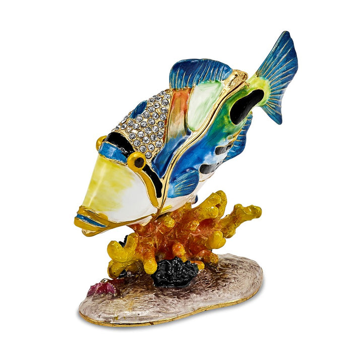 Bejeweled Huma Huma Fish Trinket Box with Charm Pendant