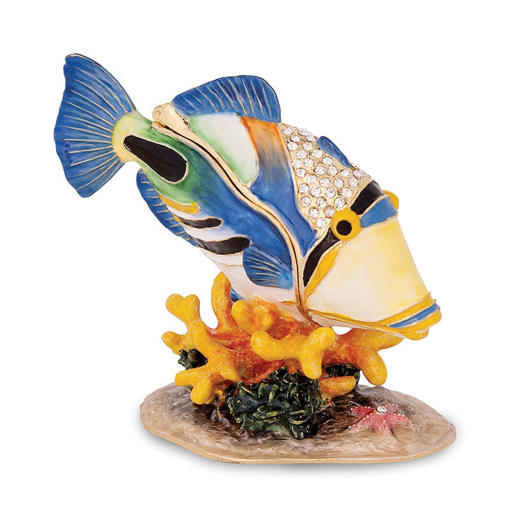 Bejeweled Large Huma Huma Fish Trinket Box with Charm Pendant