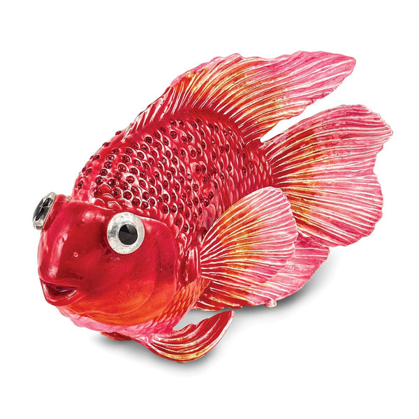 Lux by Jere Bejeweled FLORA Red & Pink Fish Trinket Box