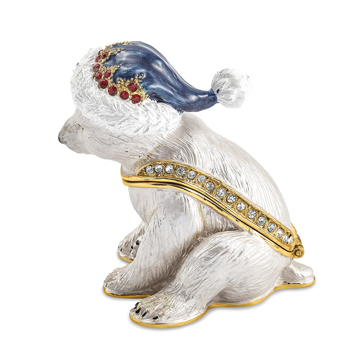 Lux by Jere Bejeweled NOELLE Cuddly Polar Bear Cub Trinket Box