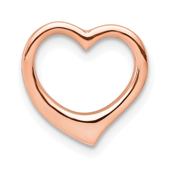 14k Rose Gold 3D Polished Heart Chain Slide Charm Pendant