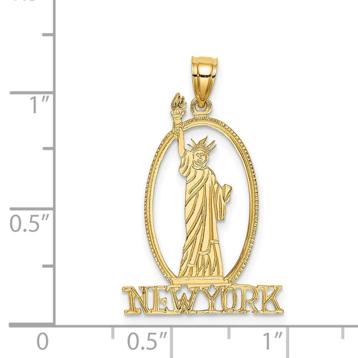 14k Yellow Gold Cut-out New York with Statue of Liberty Charm Pendant