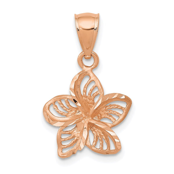 14k Rose Gold Beaded & Polished Plumeria Flower Charm Pendant