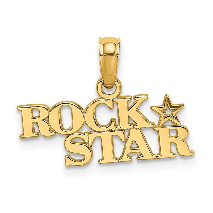 14k Yellow Gold Polished Rock Star Charm Pendant