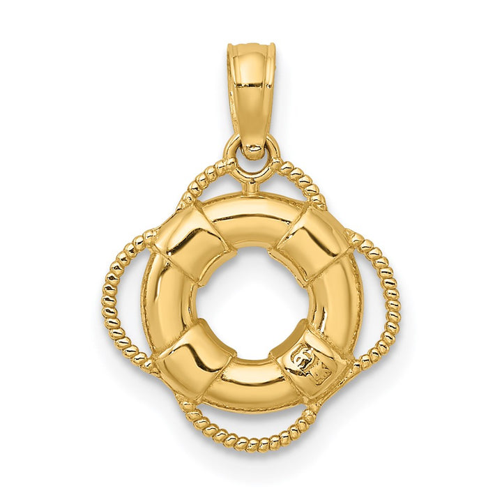 14k Yellow Gold Lifesaver Charm Pendant