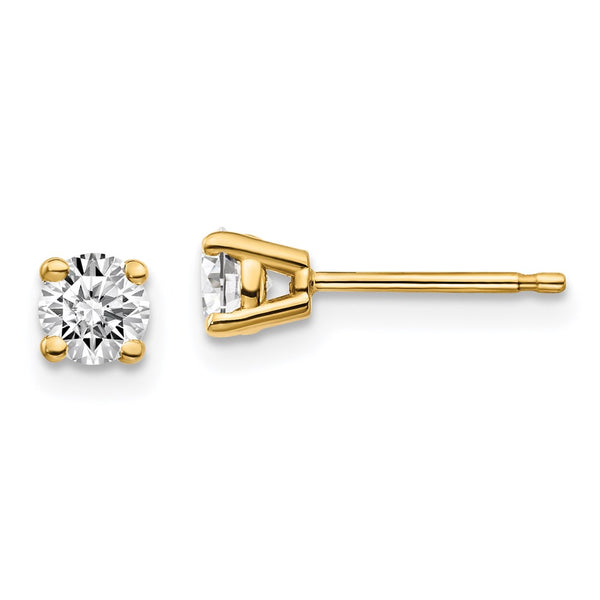 14kt Yellow Gold 0.5ct with Certified VS/SI, D E F, Lab Grown Diamond 4-Prong Stud Earrings