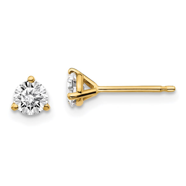 14kt Yellow Gold 0.5ct with Certified VS/SI, D E F, Lab Grown Diamond 3 Prong Stud Earrings