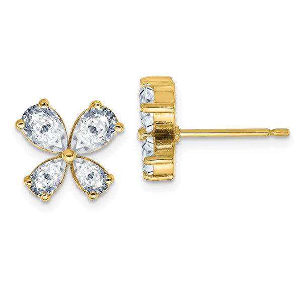 14K Yellow Gold Butterfly D E F Pure Light Moissanite Earrings 2.44 Carat