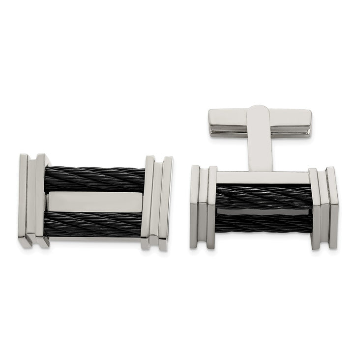 Edward Mirell Titanium Cable Polished Cufflinks