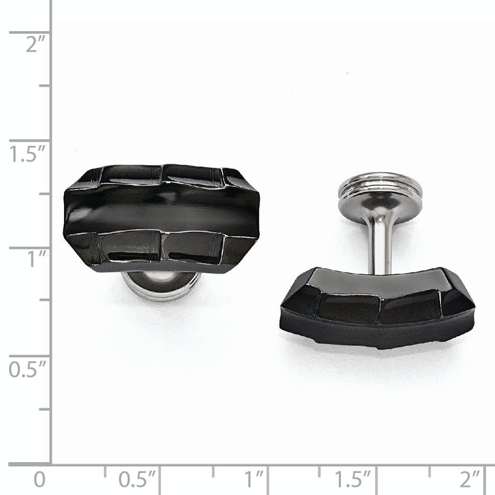 Edward Mirell Black Ti Faceted Edges Polished Cufflinks
