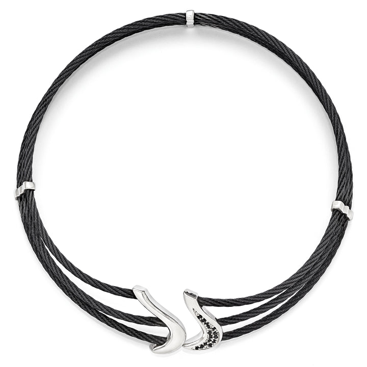 Edward Mirell Black Ti & Sterling Silver Black Spinel Cable Flex Collar