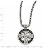 Edward Mirell Stainless Steel & Black Memory Cable Round Cross Necklace