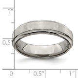 Edward Mirell Titanium Brushed & Polished Beveled 6mm Band