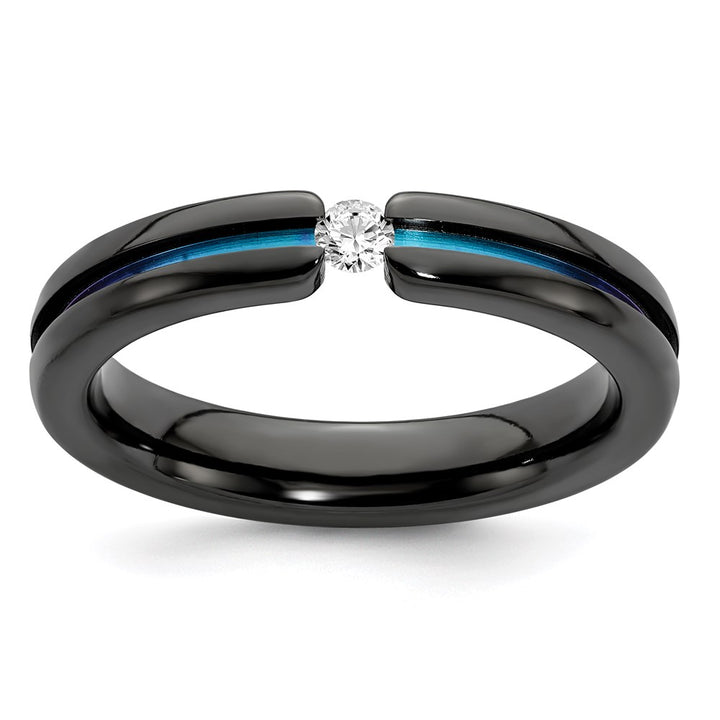 Edward Mirell Black Ti White Sapphire & Rainbow Anodized 4mm Band