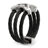Edward Mirell Black Ti w/Sterling Silver Black Spinel Cable Flexible Ring