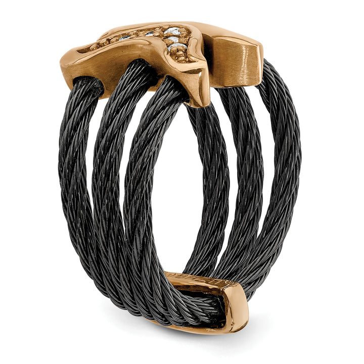 Edward Mirell Black Ti & Bronze Cable White Sapphire Cable Flexible Ring