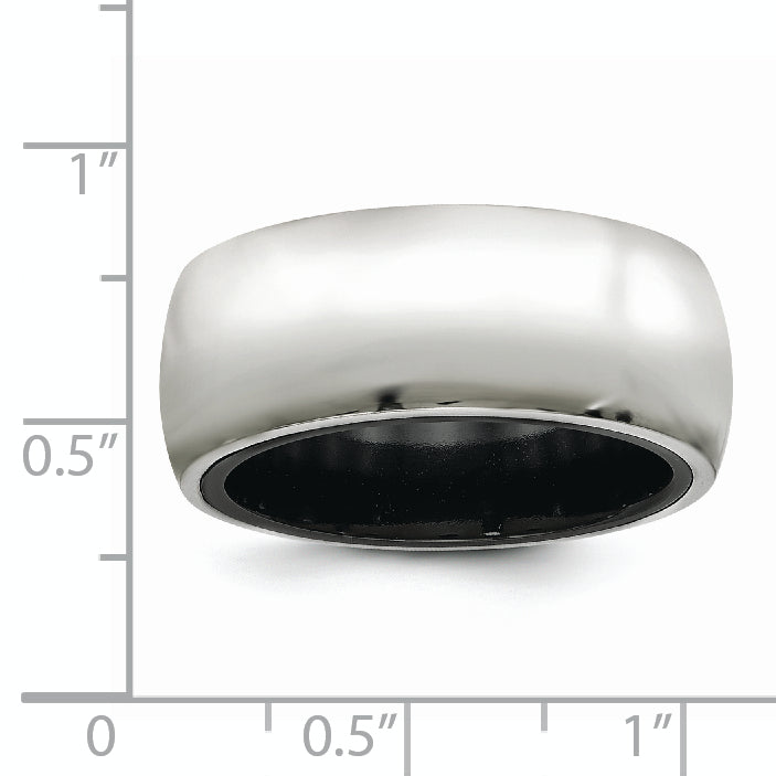 Edward Mirell Black Ti & Sterling Silver Polished Domed Ring