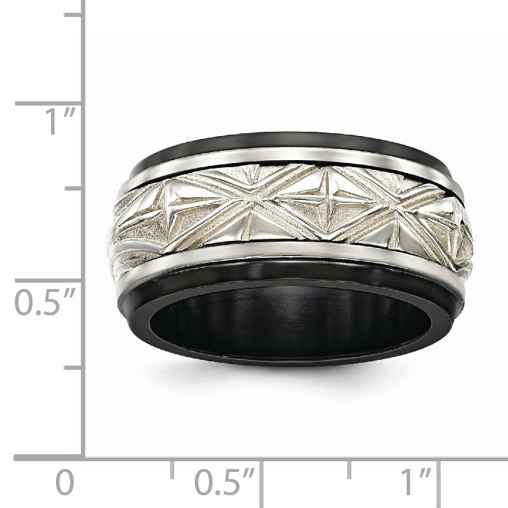 Edward Mirell Black Ti & Sterling Silver Inlay Polished Fancy Design Ring