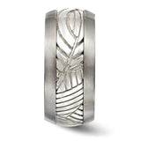 Edward Mirell Titanium & Sterling Silver Inlay Polished Leaf Ring