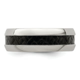 Edward Mirell Stainless Steel Black Carbon Fiber 8mm Band
