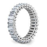 14kt White Gold Emerald-cut Eternity D E F Pure Light Moissanite Band Ring 3.96 Carat, Ring Size 8