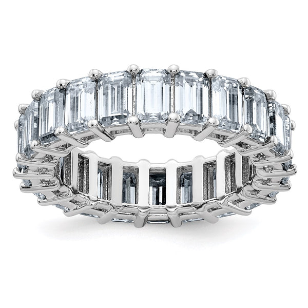 14kt White Gold Emerald-cut Eternity D E F Pure Light Moissanite Band Ring 6.9 Carat, Ring Size 8