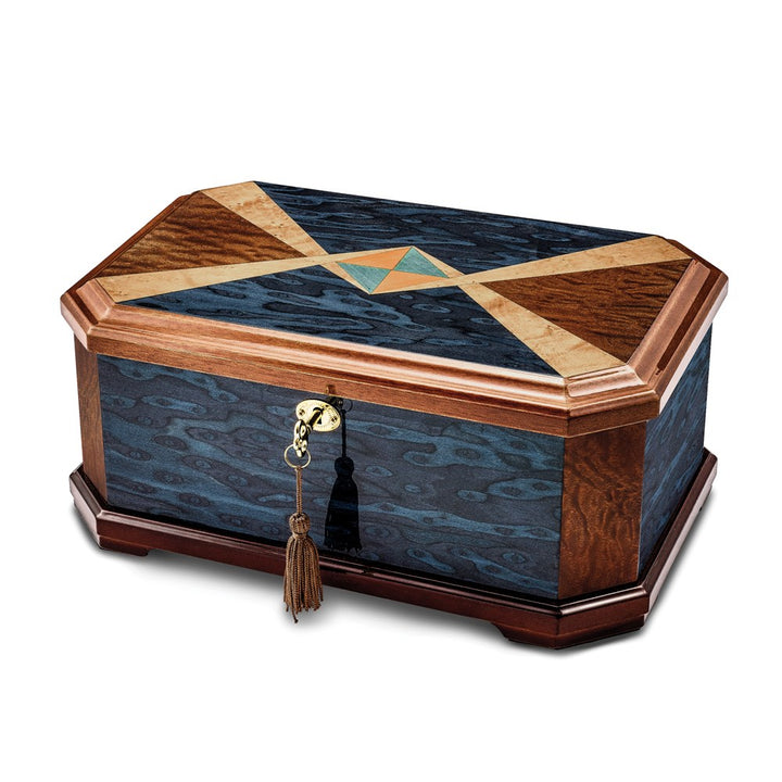 Lux by Jere Sapeli & Blue Cats Eye Veneer High Gloss Locking Memorial Box