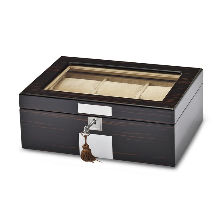 High Gloss Ebony Veneer Watch & Jewelry Box w/Lift-out Tray