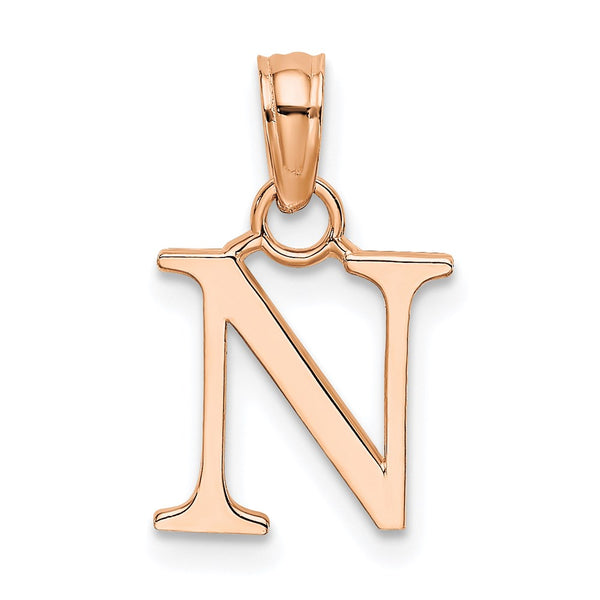 14k Rose Gold Polished N Block Initial Charm Pendant