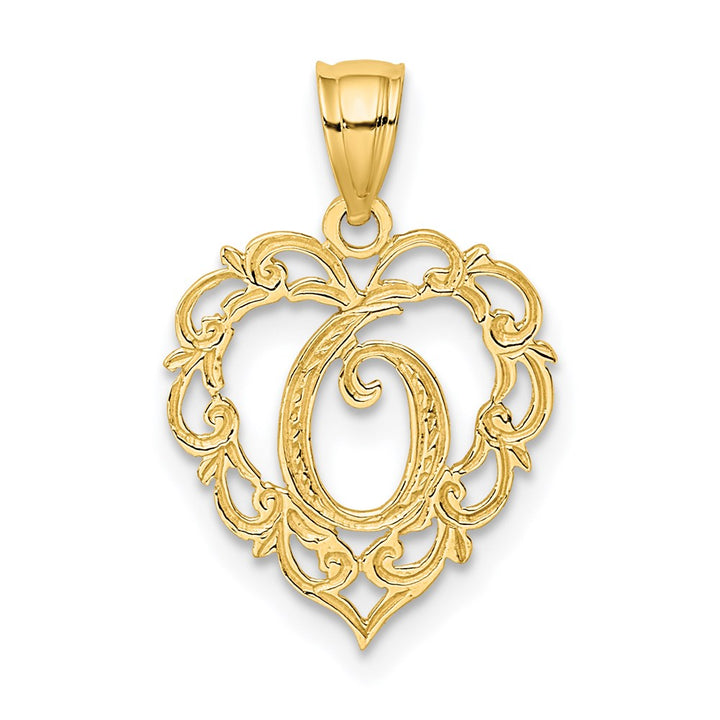 14k Yellow Gold Solid O Script Initial In Heart Charm Pendant