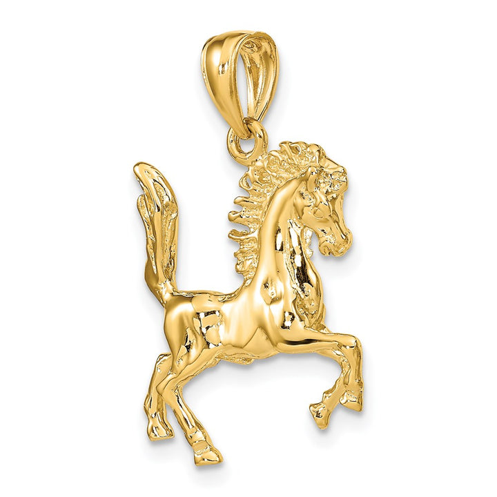 14k Yellow Gold 3D HORSE Charm Pendant