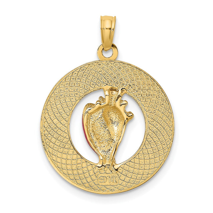 14k Yellow Gold SAINT AUGUSTINE Round Frame with  Enamel Conch Shell Charm Pendant