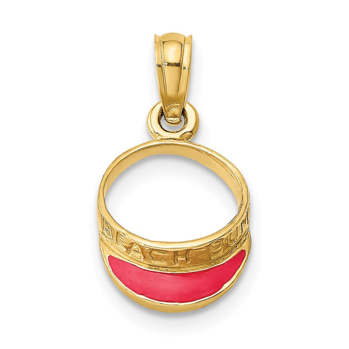 14k Yellow Gold Fuschia Enameled Beach Sun Visor Charm Pendant