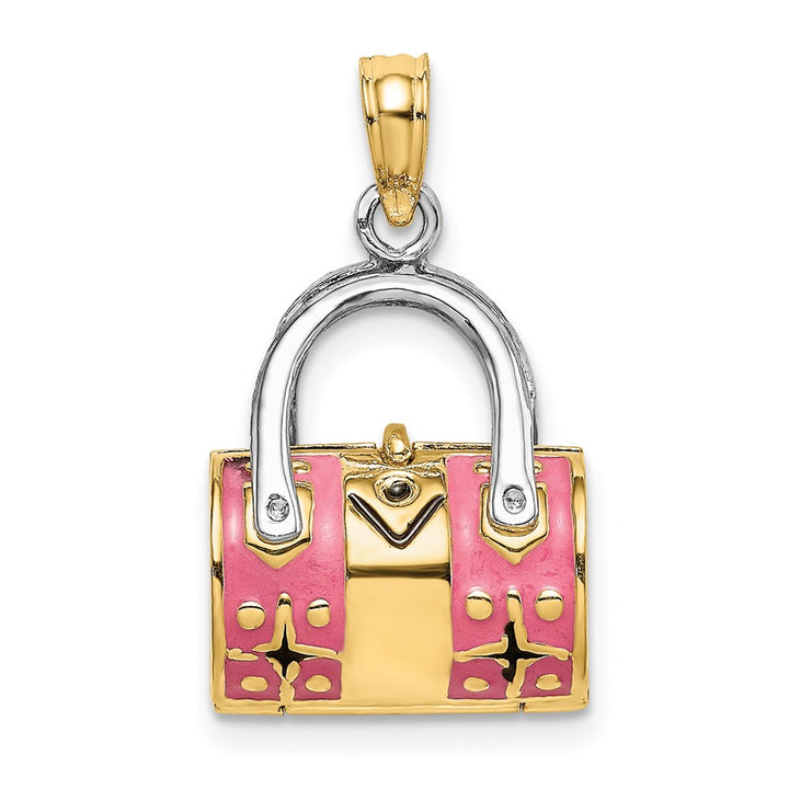 14k Yellow Gold with Rhodium 3D Pink Enameled HANDBAG MOVEABLE Charm Pendant
