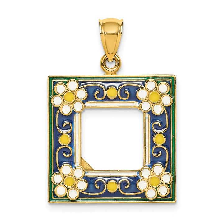14k Yellow Gold 3D with  Enamel Navy Picture Frame with Flowers Charm Pendant