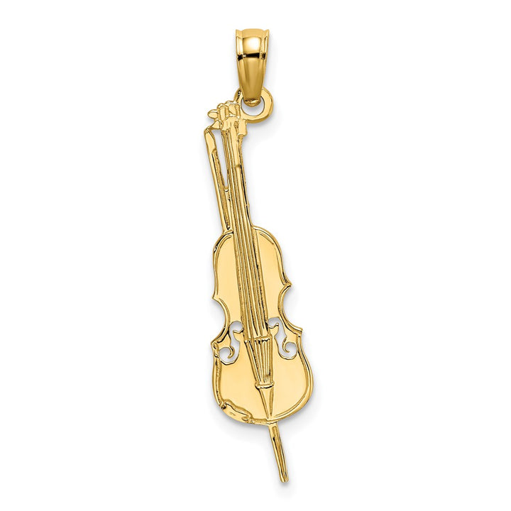 14k Yellow Gold Polished & Engraved UPRIGHT BASS Charm Pendant